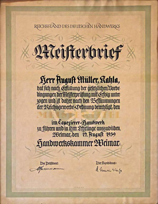 Meisterbrief August Müller
