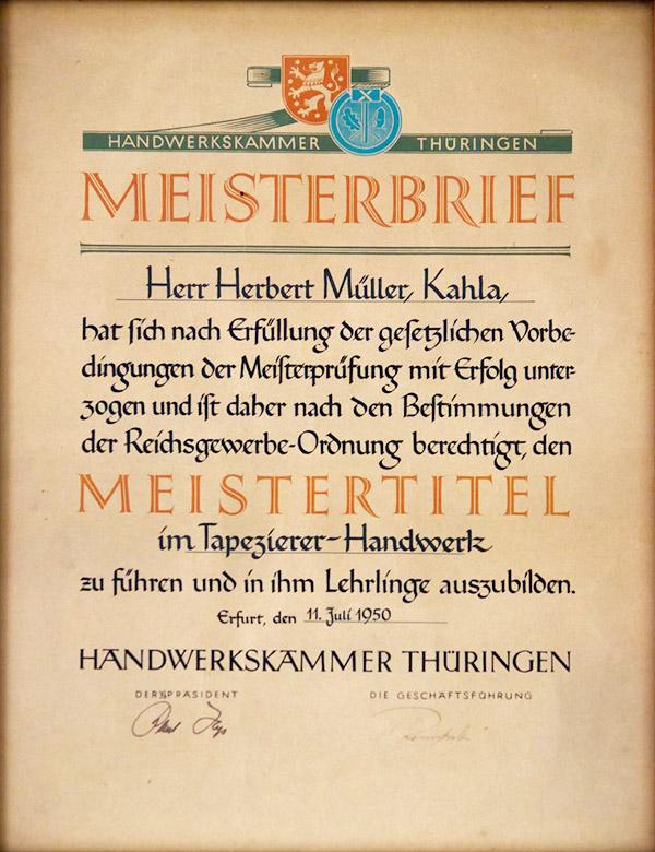 Meisterbrief Herbert Müller