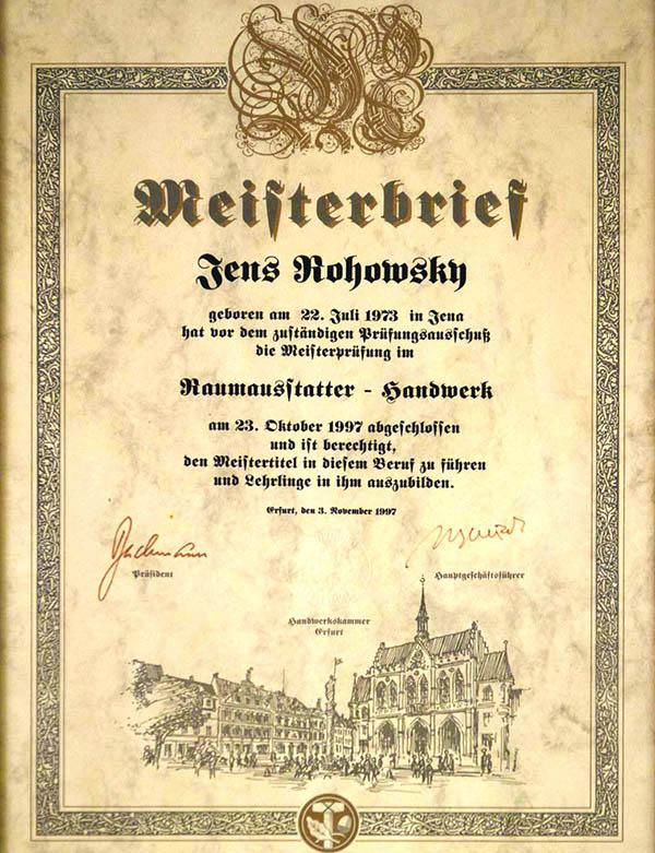 Meisterbrief Jens Rohowsky