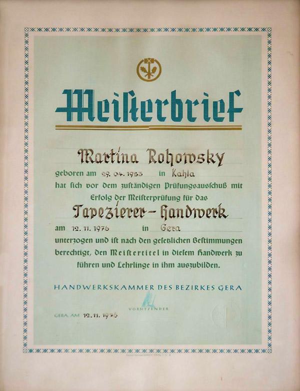 Meisterbrief Martina Rohowsky